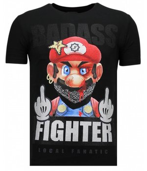 Local Fanatic Fight Club Mario - Rhinestone T-shirt - Zwart