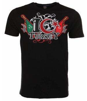 Mascherano T Shirt Herren - I Love Turkey - Schwarz