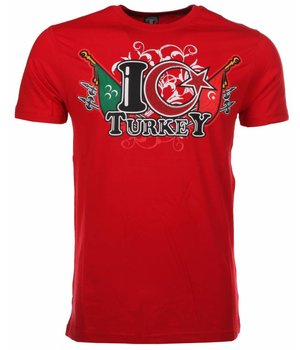 Mascherano T Shirt Herren - I Love Turkey - Rot