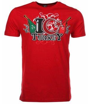 Mascherano T Shirt Herren - I Love Turkey - Rot