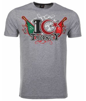 Mascherano T Shirt Herren - I Love Turkey - Grau