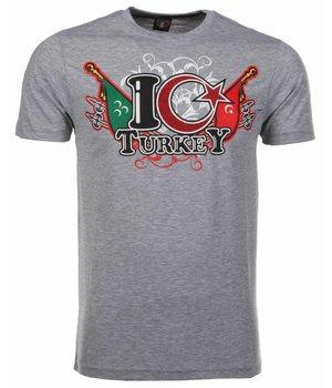Mascherano T Shirt Herren - I Love Turkey - Grau