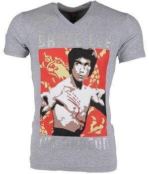 Mascherano T Shirt Herren - Bruce Lee the Dragon - Grau