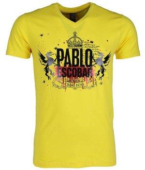 Mascherano T Shirt Herren - Pablo Escobar Crime Boss - Gelb