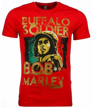 Mascherano T Shirt Herren - Bob Marley Buffalo Soldier Print - Rot