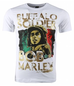 Mascherano T Shirt Herren - Bob Marley Buffalo Soldier Print - Weiß