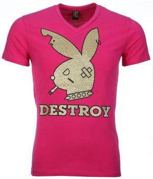 Mascherano T Shirt Herren - Destroy Print - Rosa