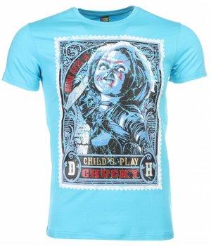 Mascherano T Shirt Herren - Chucky Poster Print - Blau