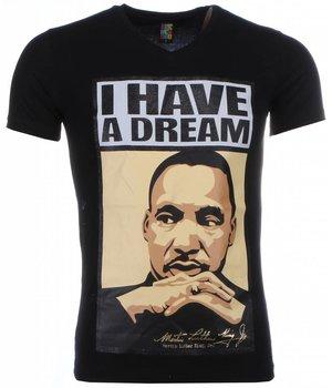 Mascherano T Shirt Herren - Martin Luther King I Have A Dream Print - Schwarz