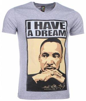 Mascherano T Shirt Herren - Martin Luther King I Have A Dream Print - Grau
