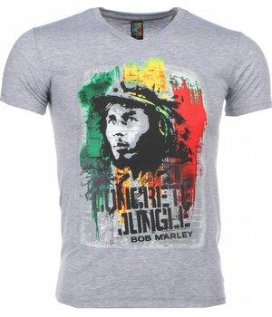 Mascherano T Shirt Herren - Bob Marley Concrete Jungle Print - Grau