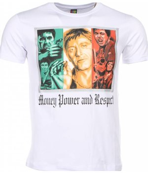 Mascherano T Shirt Herren - Scarface Money Power Respect Print - Weiß