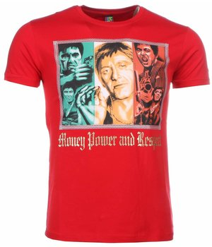 Mascherano T Shirt Herren - Scarface Money Power Respect Print - Rot