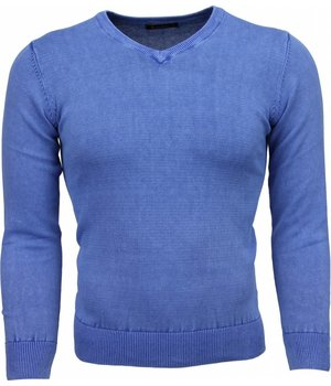 Brother-F Casual Pullover- Exclusive Blanco V-Hals - Blau
