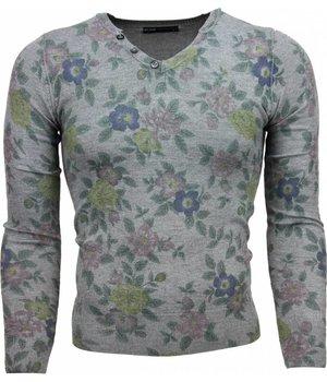 Belman Casual Pullover - Blumen Motiv Herren - Dunkelgrau