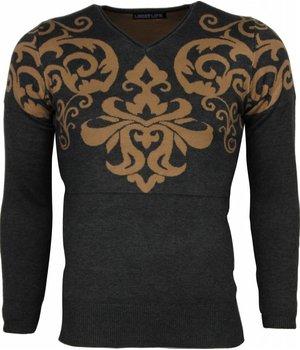 Lucky Life Casual Pullover - Tattoo Motiv Stickerei Herren - Grau