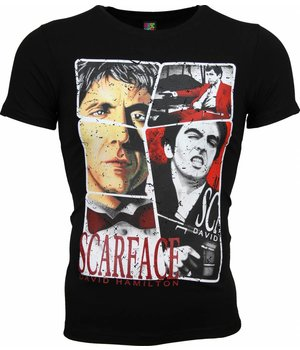 Mascherano T Shirt Herren - Scarface Frame Print - Schwarz