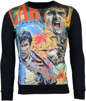 Local Fanatic Scarface Cartoon - Sweatshirt - Blau