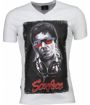 Local Fanatic Scarface Headphone Print - T Shirt Herren - Weiß
