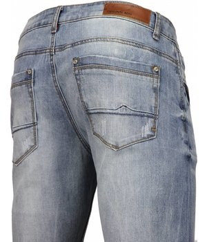 Orginal Ado Herren Jeans - Slim Fit Stretch - Basic Washed - Helleblau
