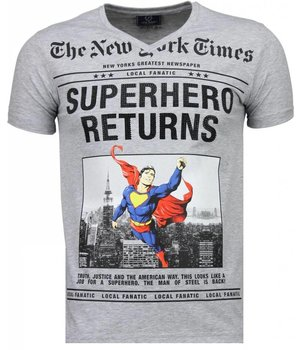 Local Fanatic SuperHero Returns - T Shirt Herren - Grau