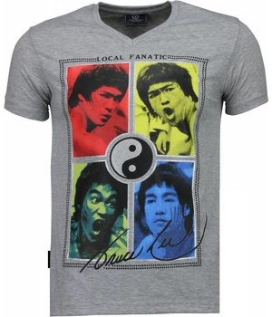 Local Fanatic Bruce Lee Ying Yang - T Shirt Herren- Grau