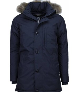 Y chromosome Jacken mit Fellkragen - Winterjacken Herren Lange - Exclusive Parka - Dunkelblau