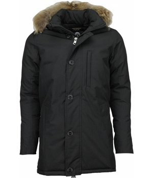 Y chromosome Jacken mit Fellkragen - Winterjacken Herren Lange - Exclusive Parka SLIM FIT - Schwarz