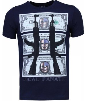 Local Fanatic AK-47 Dollar - Strass T Shirt Herren - Marine Blau