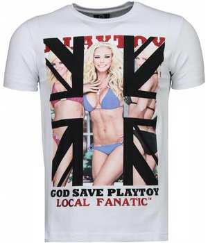 Local Fanatic God Save Playtoy - Strass T Shirt Herren - Weiß