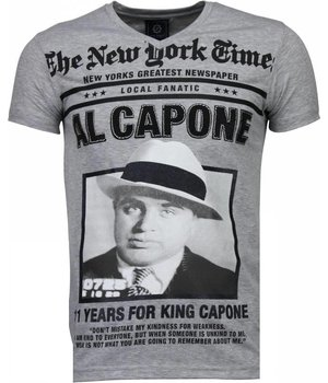 Local Fanatic Al Capone - Strass T Shirt Herren - Grau