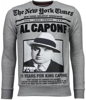 Local Fanatic Al Capone - Strass Sweatshirt - Grau