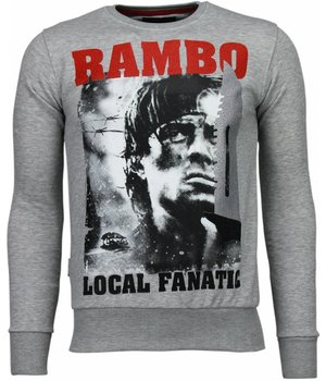 Local Fanatic Rambo - Strass Sweatshirt - Grau