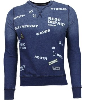Bread & Buttons Crew Text Stickerei - Sweatshirt - Blau