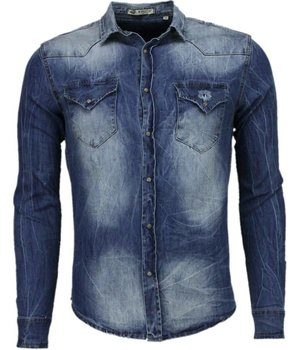 Enos Jeanshemd Herren - Slim Fit - Basic Denim - Blau