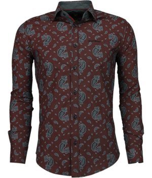 Gentile Bellini Italianische Hemden - Slim Fit - Luxus Muster - Bordeaux