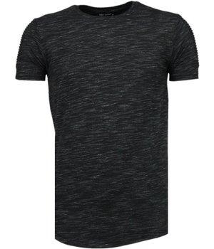 Tony Brend Ärmel Rippe - T Shirt Herren - Schwarz