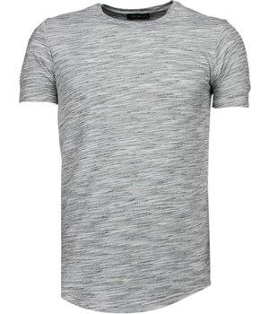 Tony Brend Ärmel Rippe - T Shirt Herren - Grau