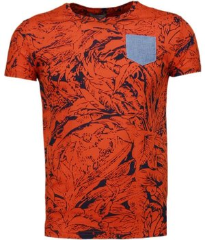 Black Number Wald Motiv - T Shirt Herren- Orange