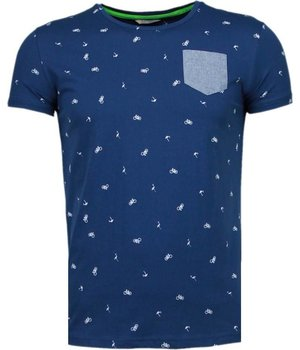 Black Number Flamingo - T Shirt Herren - Marine Blau