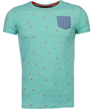 Black Number Flamingo - T Shirt Herren - Turquoise