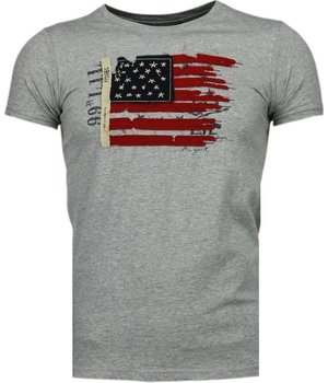 Bread & Buttons USA Flagge Stickerei - T Shirt Herren - Grau