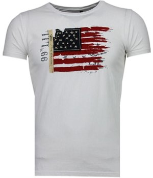 Bread & Buttons USA Flagge Stickerei - T Shirt Herren - Weiß