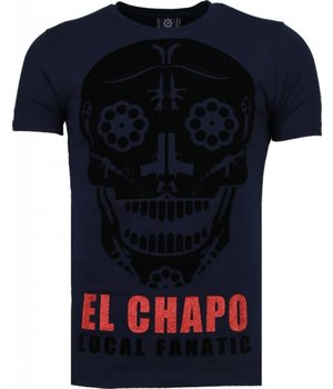 Local Fanatic El Chapo - Flockprint T Shirt Herren - Marine Blau