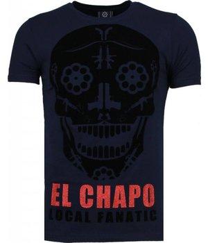 Local Fanatic El Chapo - Flockprint T Shirt Herren - Marine Blau