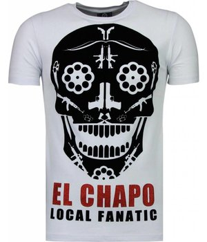 Local Fanatic El Chapo - Flockprint T Shirt Herren - Weiß