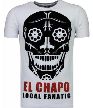 Local Fanatic El Chapo - Flockprint T Shirt Herren - Weiß