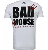 Local Fanatic Bad Mouse - Strass T Shirt Herren - Weiß