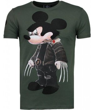 Local Fanatic Bad Mouse - Strass T Shirt Herren - Grün
