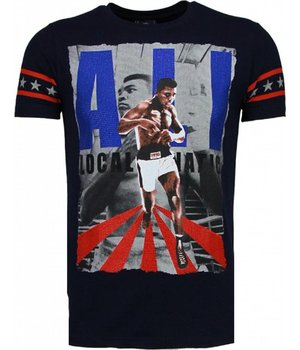 Local Fanatic Muhammad Ali - Strass T Shirt Herren - Marine Blau